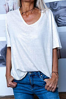 Casual V Neck Plain T-Shirt