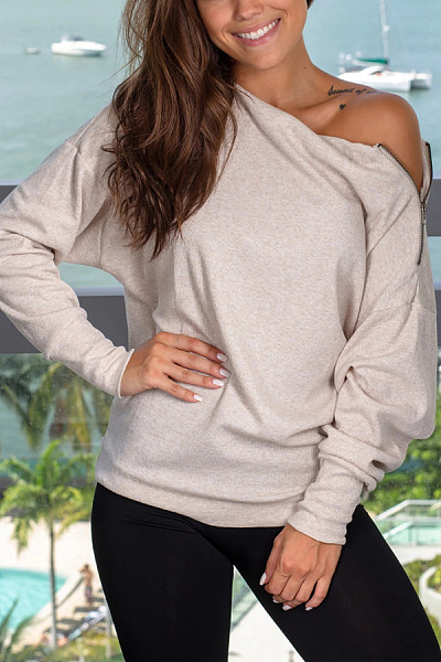 Single Shoulder Collar Zips Plain T-Shirt