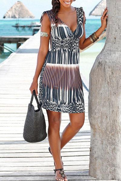 V Neck  Printed Casual Dresses