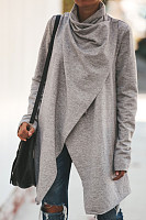 Lapel  Asymmetric Hem  Plain Outerwear