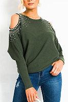 Open Shoulder Collar Plain T-shirt