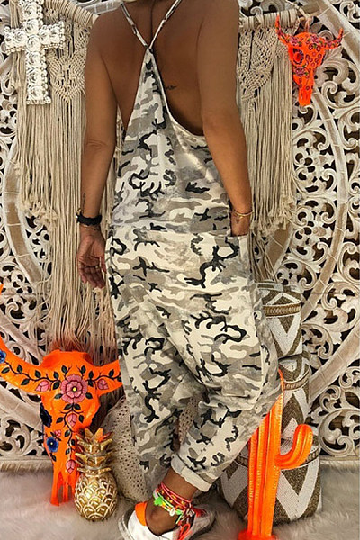 Casual Sling Camouflage Jumpsuit