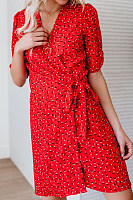V Neck  Printed  Short Sleeve Bodycon Dresses
