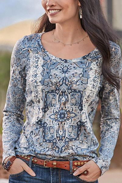 Women's Casual Round Neck Print Long Sleeve T-Shirt