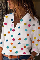 Asymmetric Neck  Dot  Blouses