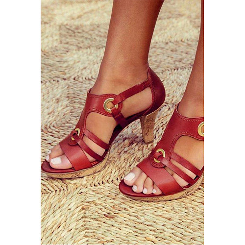Plain  Chunky  High Heeled  Peep Toe  Date Travel Sandals