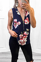 V Neck  Zipper  Floral Printed  Vests