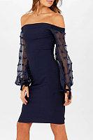 Off Shoulder  Patchwork Slit Bodycon Dresses