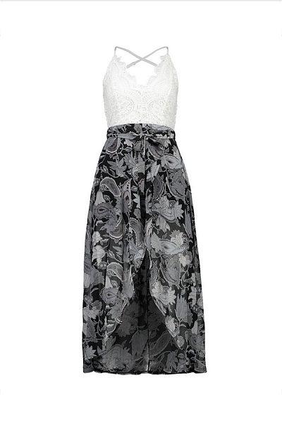 Spaghetti Strap  Asymmetric Hem Patchwork  Floral Printed  Sleeveless Maxi Dresses