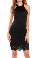 Lace Halter Zipper Plain Sleeveless Bodycon Dresses