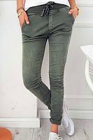 Slim Leg Belt Plain Pants