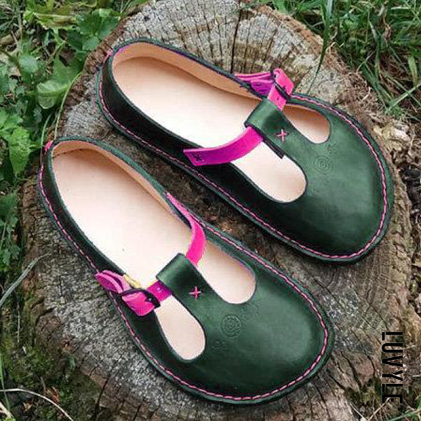 Green Flat flat shallow mouth contrast casual shoes Green Flat flat shallow mouth contrast casual shoes