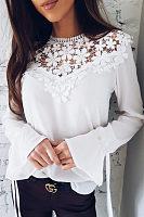 Decorative Lace  Plain  Bell Sleeve Blouses