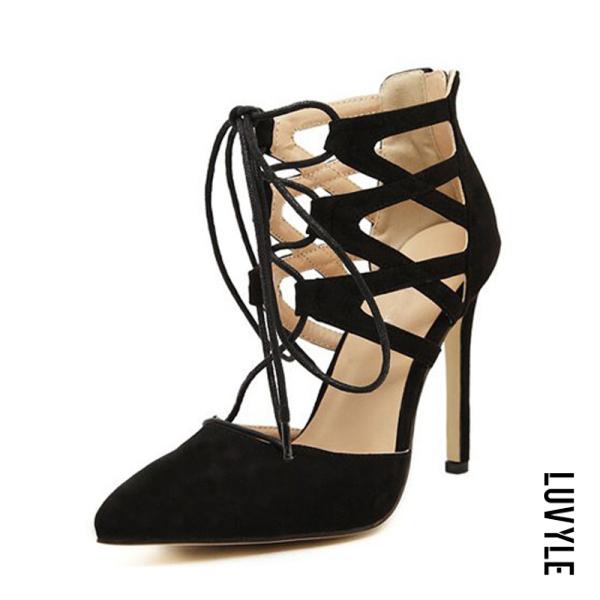 Black Solid High heeled Stiletto Elegant Point Toe Heels