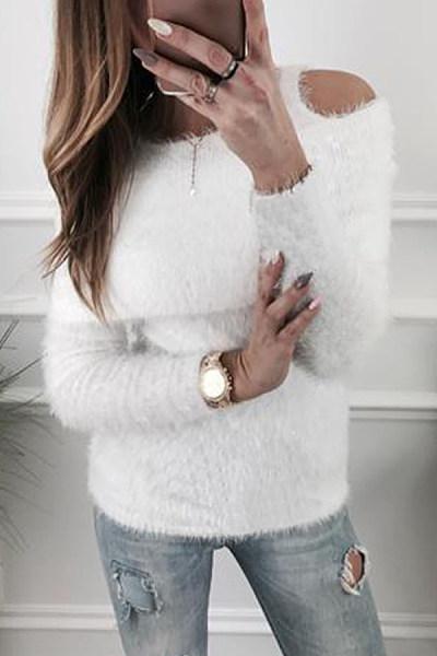 Spaghetti Strap  Fur Collar  Plain Sweaters