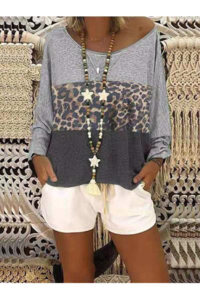 Round Neck Color Block Patchwork Leopard T-Shirts