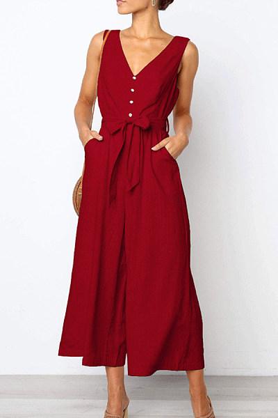 Spaghetti Strap  Backless Decorative Buttons  Plain  Sleeveless Jumpsuits