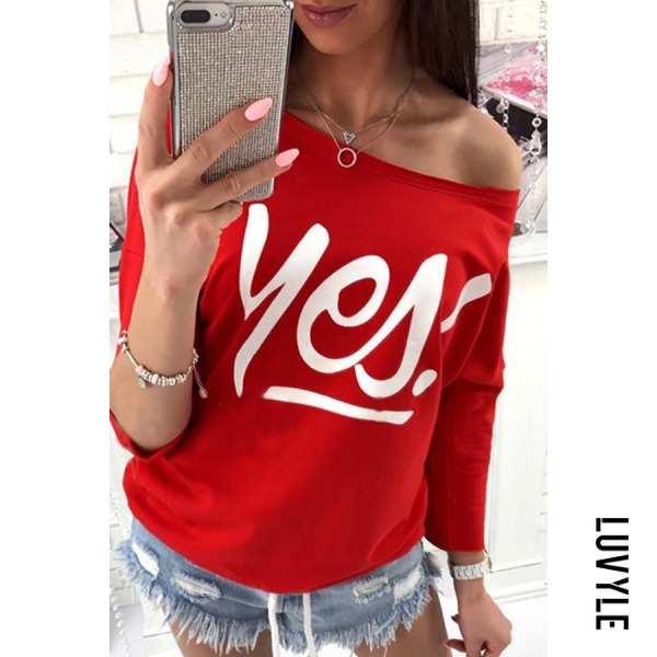 Red One Shoulder Letters Plain Batwing Sleeve T-Shirts Red One Shoulder Letters Plain Batwing Sleeve T-Shirts