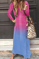 Casual V-neck color gradient long-sleeved dress