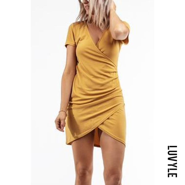 Yellow V Neck Asymmetric Hem Plain Short Sleeve Bodycon Dresses Yellow V Neck Asymmetric Hem Plain Short Sleeve Bodycon Dresses
