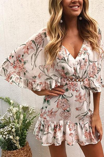 V Neck  Printed  Petal Sleeve  Short Sleeve Bodycon  Dresses