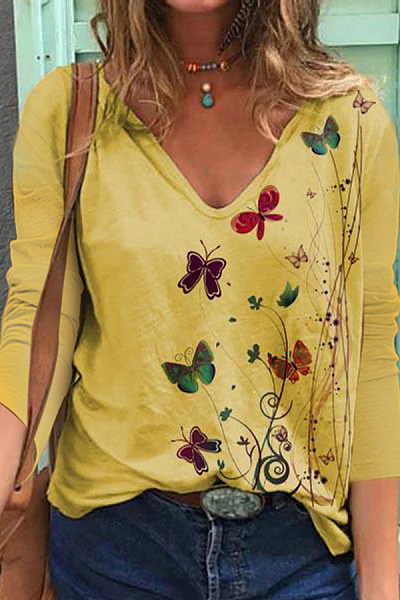 Butterfly Printed V Neck T-shirt