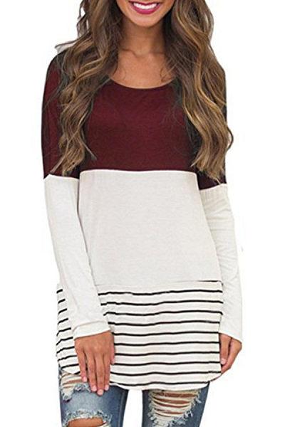 Round Neck  Asymmetric Hem  Color Block Striped T-Shirts