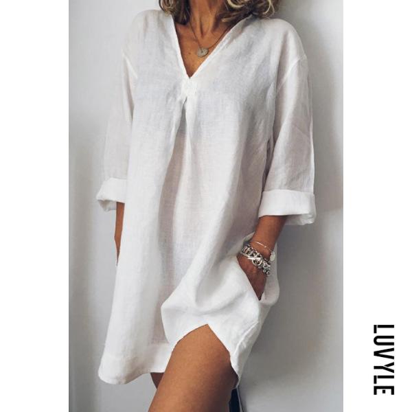 White V-Neck Linen Plain Shift Dress White V-Neck Linen Plain Shift Dress