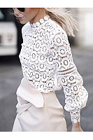 Crew Neck  Cutout Decorative Lace Ruffle Trim See-Through  Crochet  Lace  Petal Sleeve Long Sleeve T-Shirts