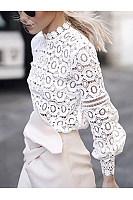 Crew Neck  Cutout Decorative Lace Ruffle Trim See-Through  Crochet  Lace  Petal Sleeve Long Sleeve T-Shirts