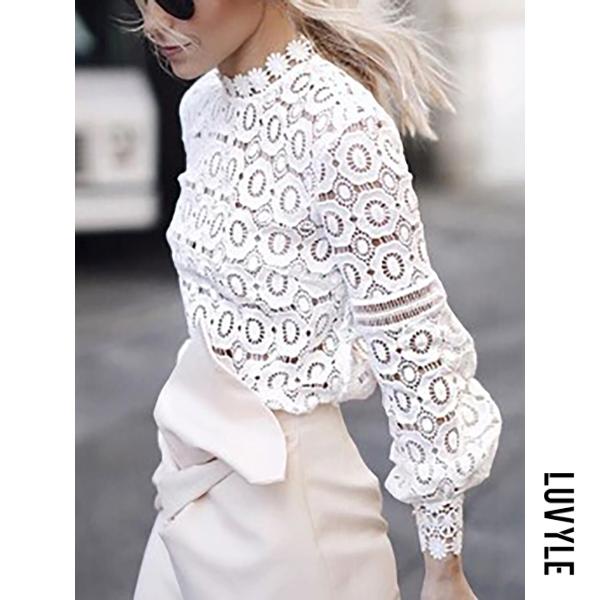 White Crew Neck Cutout Decorative Lace Ruffle Trim See-Through Crochet Lace Petal Sleeve Long Sleeve T-Shirts White Crew Neck Cutout Decorative Lace Ruffle Trim See-Through Crochet Lace Petal Sleeve Long Sleeve T-Shirts