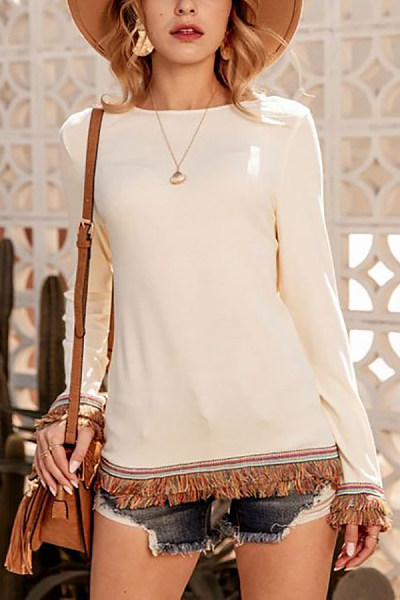 Round Neck Long Sleeve Tassel T-shirt