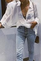 Casual Folding Cross V-Neck Solid Color Bat Long Sleeve Shirt