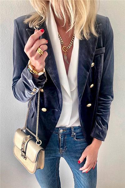 Fold Over Collar  Decorative Buttons  Plain Jackets