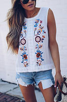 Round Neck  Embroidery  Vests