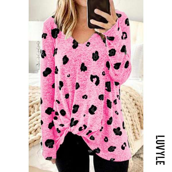 Pink V Neck Leopard Casual T-Shirt Pink V Neck Leopard Casual T-Shirt