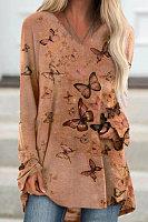 V-neck Butterfly Print Top