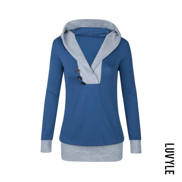 Blue Hooded Contrast Trim Decorative Buttons Hoodies Blue Hooded Contrast Trim Decorative Buttons Hoodies