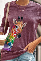 Casual Colorful Deer Printed Long-sleeved T-shirt