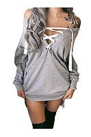 Off Shoulder  Lace Up Slit Pocket  Sweatshirts