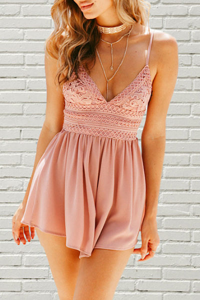 Spaghetti Strap  Backless  Plain  Sleeveless  Playsuits