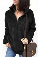 Band Collar  Zipper  Plain Sweaters