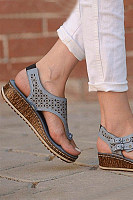 Hollow Out Plain  Peep Toe  Date Travel Wedge Sandals