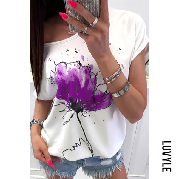 Purple Round Neck Printed Casual T-Shirts Purple Round Neck Printed Casual T-Shirts