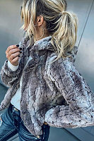 Faux Fur  Hooded  Zipper Outerwear