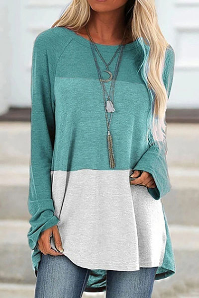 Round Neck Long Sleeve Colouring T-shirt