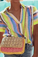 Contrast Stripes Print Short Sleeve Shirt