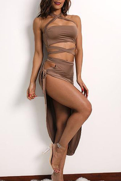 Halter  Asymmetric Hem Backless High Slit  Plain  Sleeveless Maxi Dresses