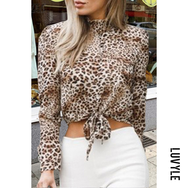 Short High Collar Printed Blouse
