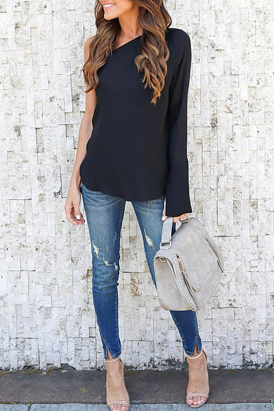 Chiffon One Shoulder Bell Sleeve  Blouses